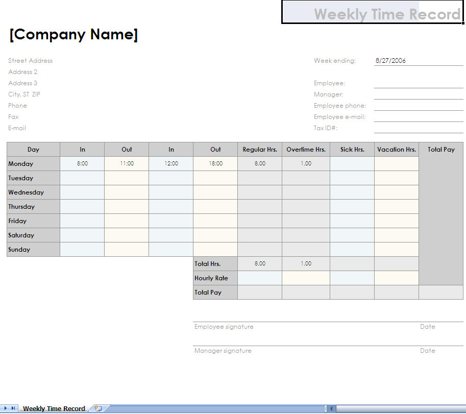 Employee Timesheet Excel Template | Filling Out Time Sheet
