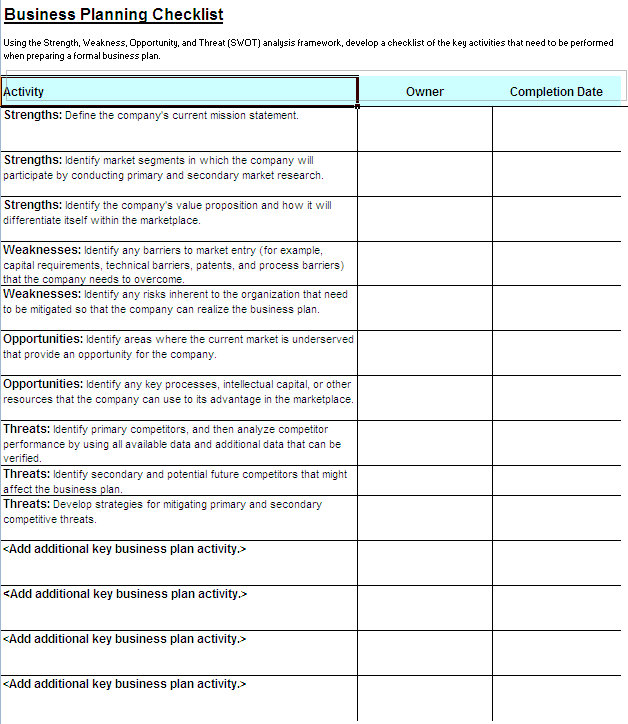 Business checklist template accmission