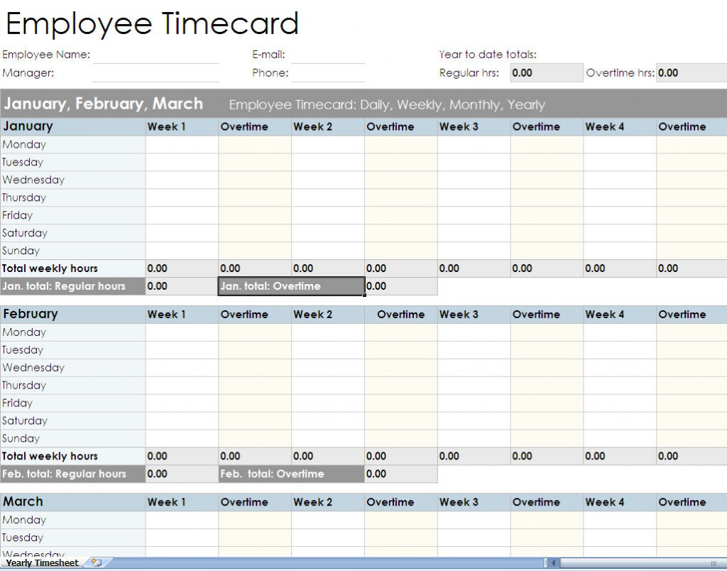 Employee timesheet spreadsheet form
