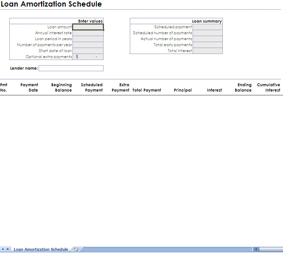 printable monthly amortization schedule excel template
