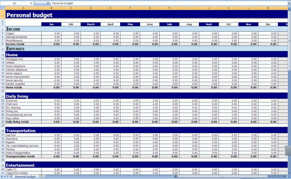 Monthly and Yearly Budget Spreadsheet Excel Template – Personal Budgeting Worksheets
