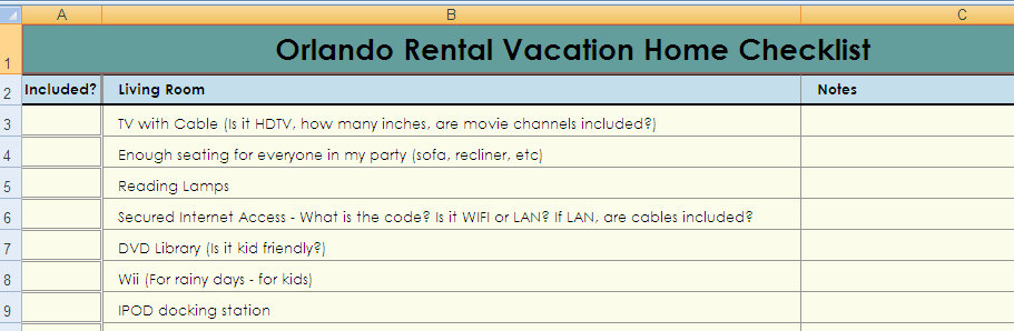 orlando vacation home rental checklist