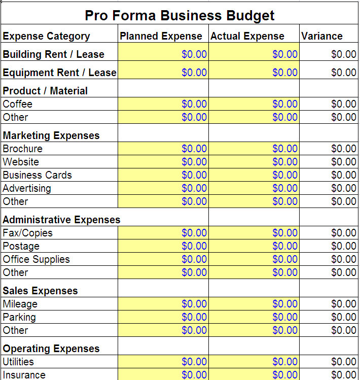 Business Budget Samples