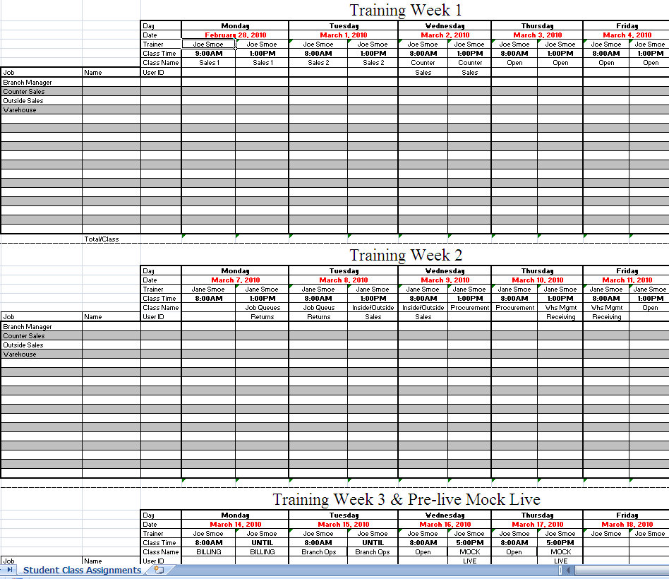 Workout Calendar Template Excel : Erp implementation training schedule