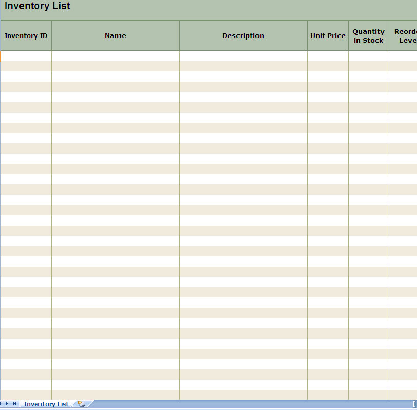 Inventory List Excel Spreadsheet screenshot