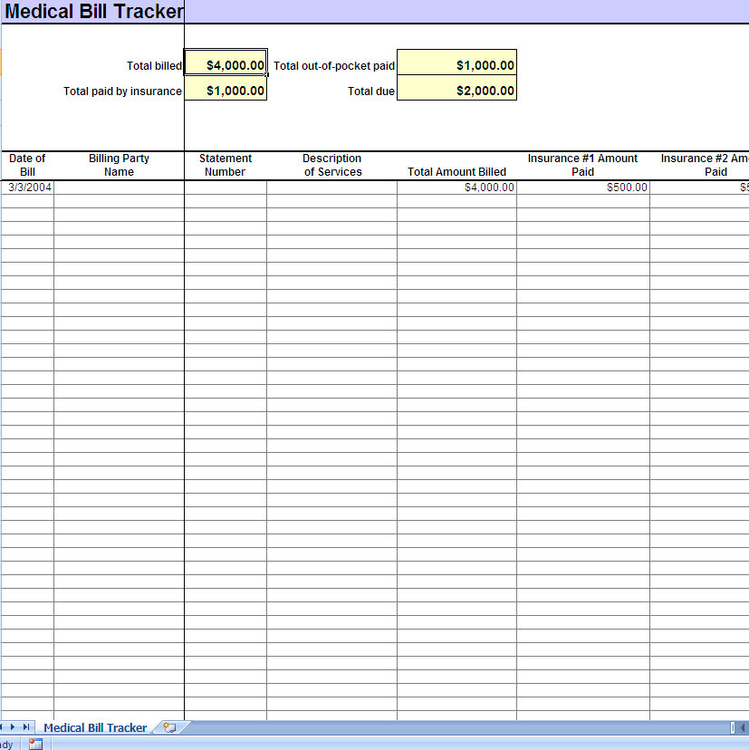 Medical Bill Tracker - Medical Expense Tracking - Document Medical Bills