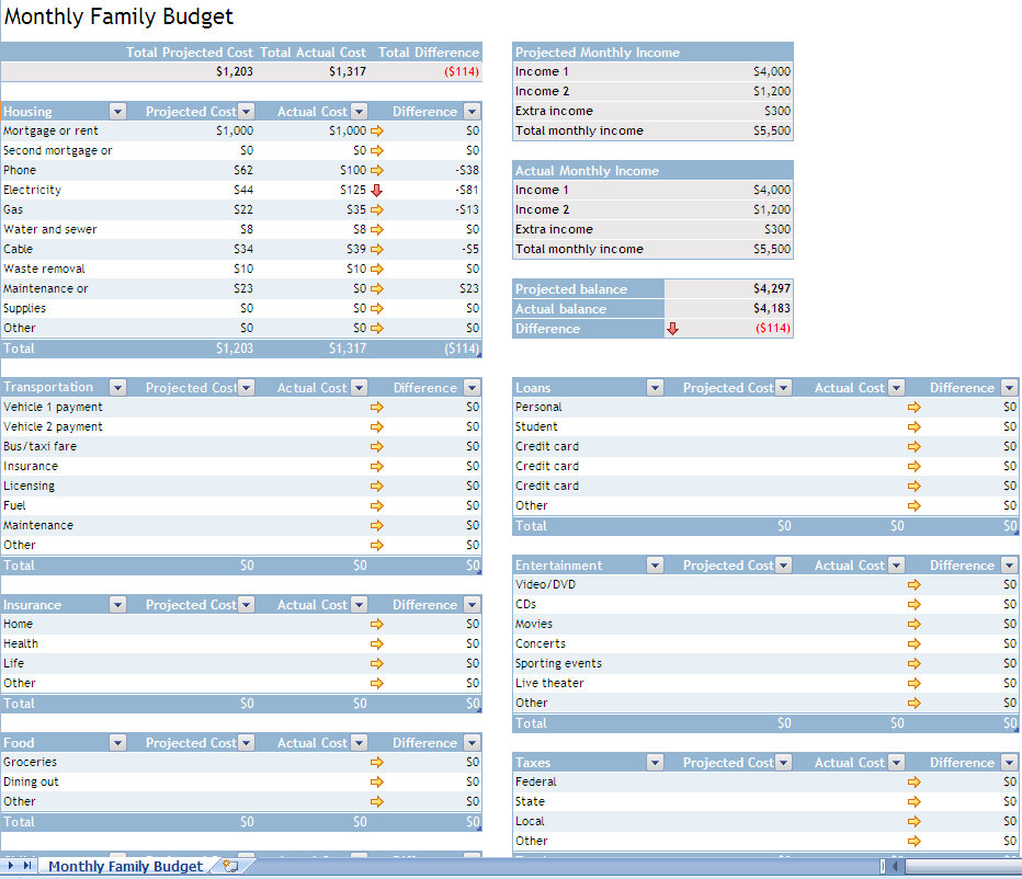 household budget template household expense template