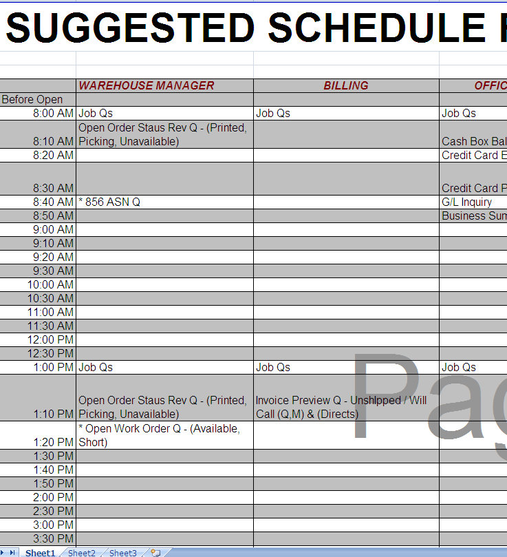 Scheduled ERP Reports &#8211; Post Implementation &#8211; Excel Template
