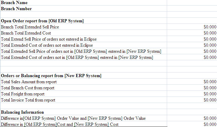 ERP Old/New Transition Balancing Excel Template