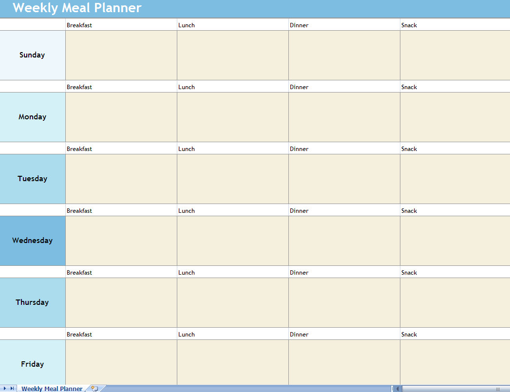 Weekly Meal Planner Excel Spreadsheet | Weekly Meal Planner