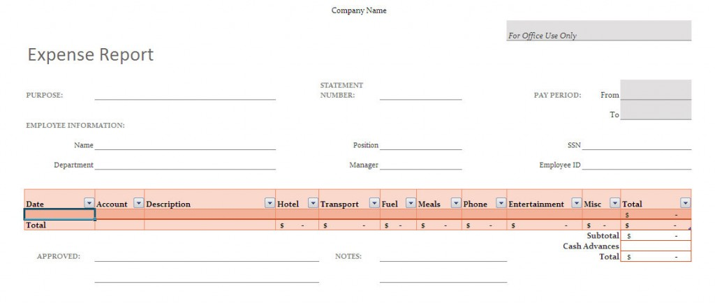 Excel Expense report Management