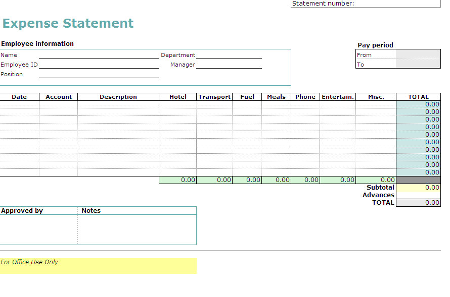 Expense Report Form. Travel Expense Reporting Excel Worksheet ...