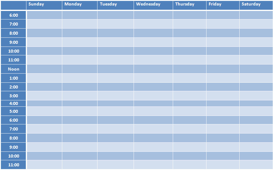 weekly timetable schedule