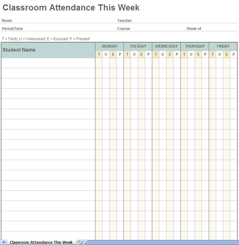 ... for Using the Weekly Student Attendance Tracking System Excel Template
