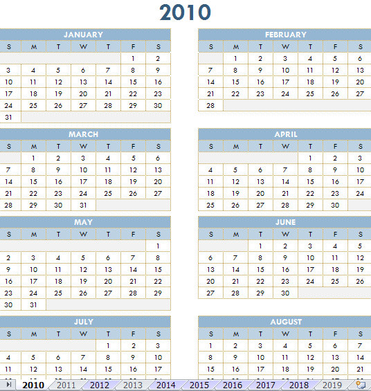 2010 Calendar Printable One Page | Calendar Template 2016