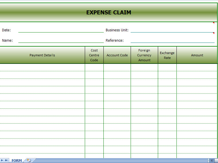 expense claim form template