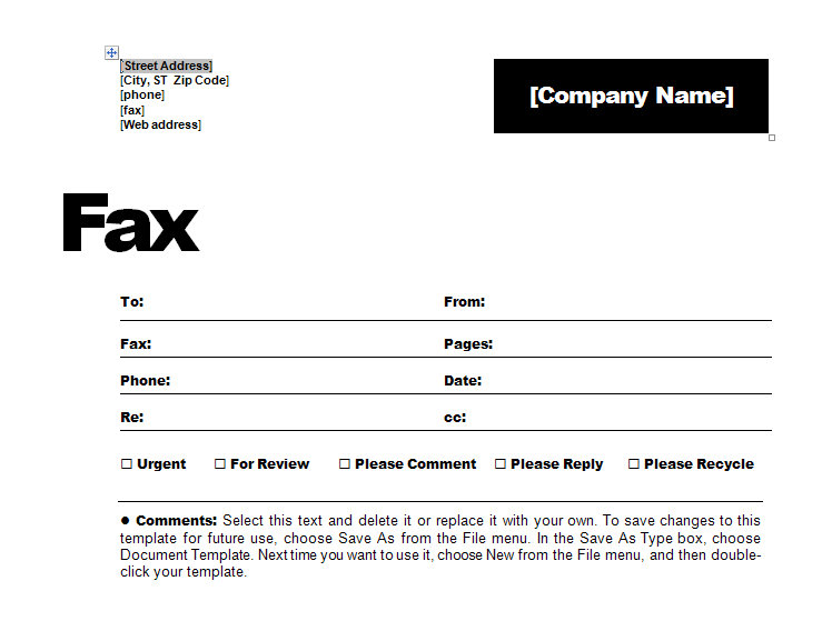 contemporary fax coversheet