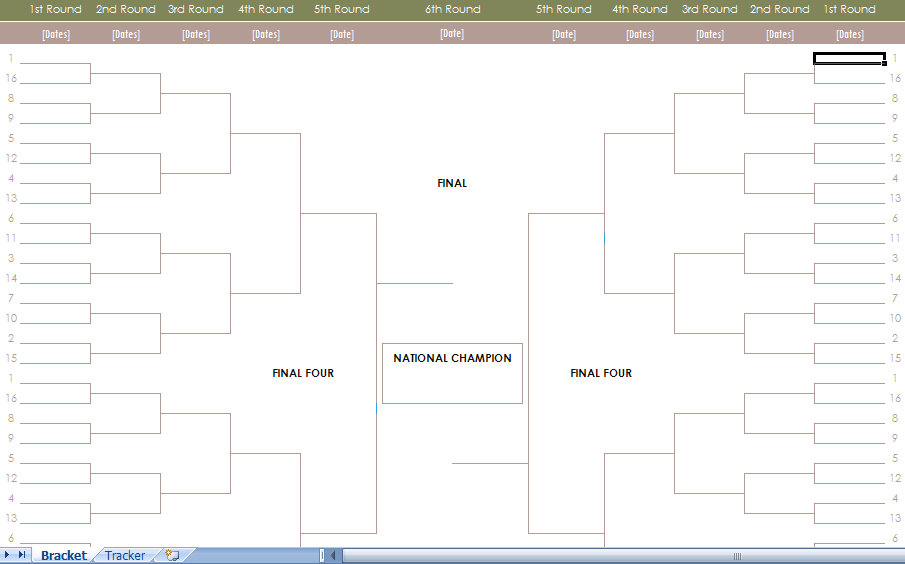 NCAA Mens Basketball Tournament Bracket Excel Template