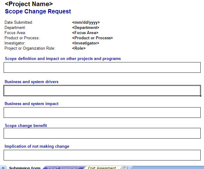 Scope Change Management Plan | Scope Change Request Form