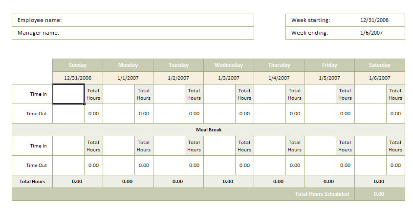 screenshot of the Time Sheet Excel Template