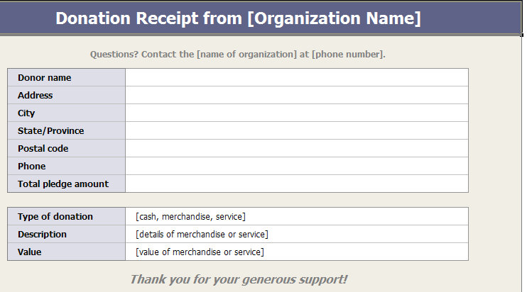 charitable donation receipts template screenshot