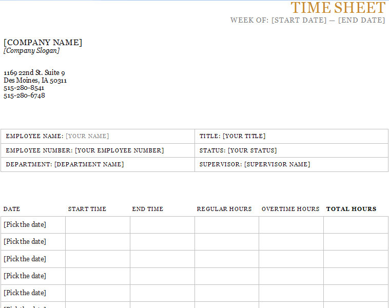 Printable Time Sheet Contractor Weekly Timesheet Template