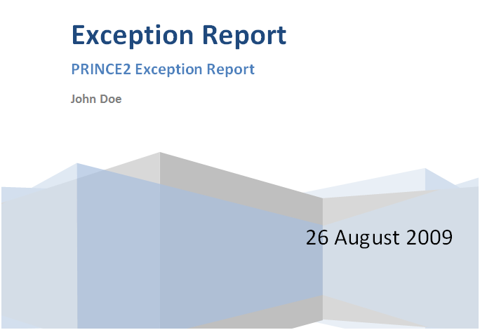prince2 exception report