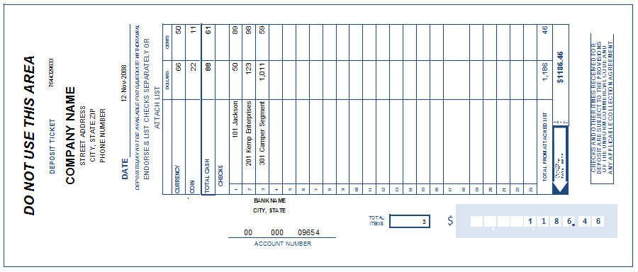 bank deposit slip template