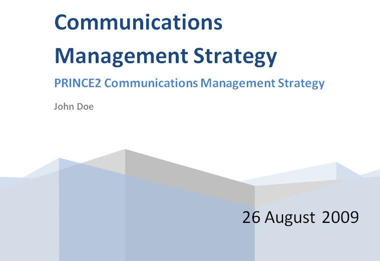 Prince2 Communications Management Strategy Template