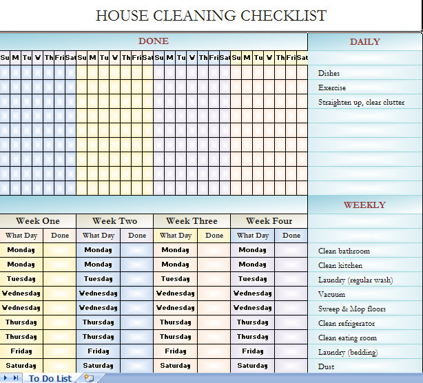 Checklist for house cleaning template
