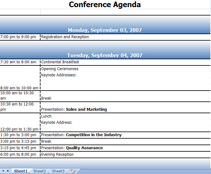 Conference Agenda Archives  My Excel Templates