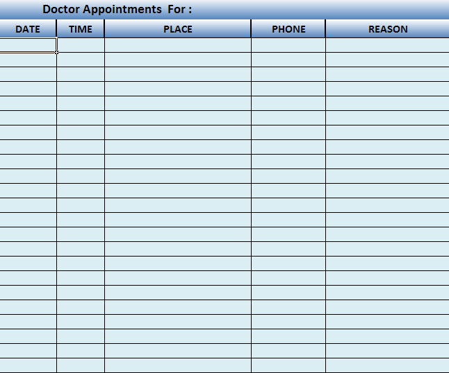 free doctor appointment schedule template