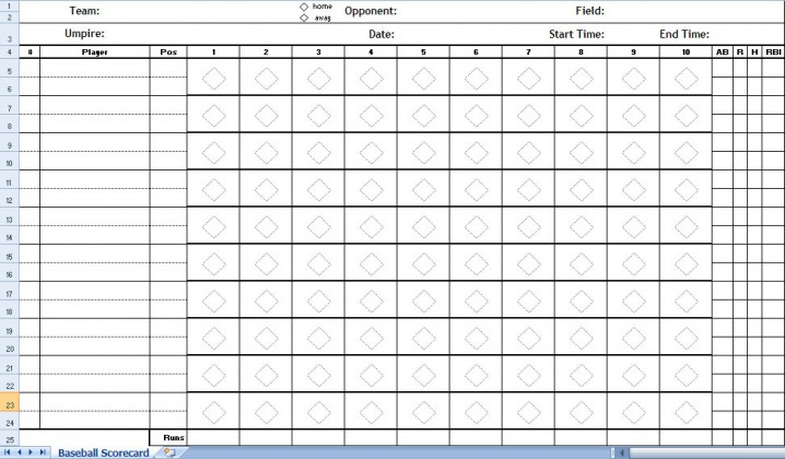 Baseball Scorecard Excel Template