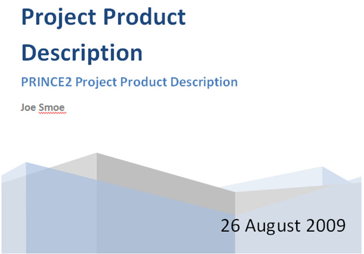 prince2 project product description