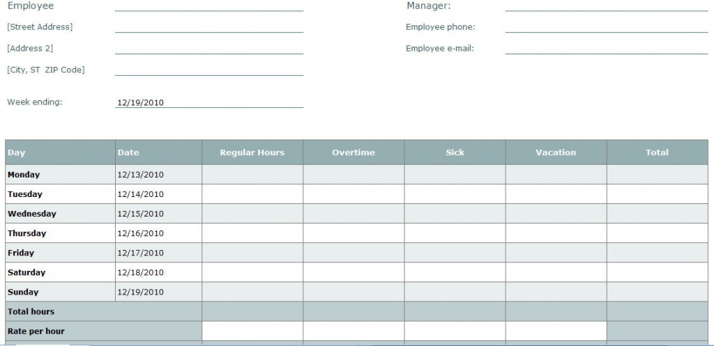 Blank Time Sheet Form | Employee Timesheet