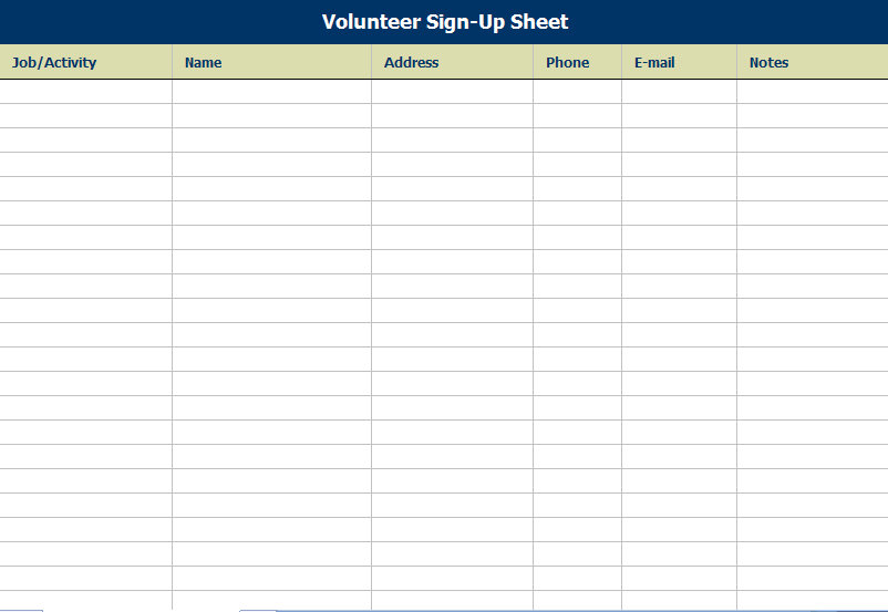 Volunteer Sign-in Sheet