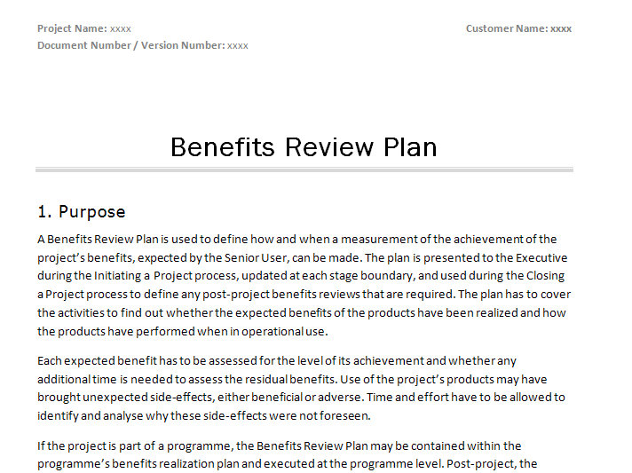 Prince2 Benefits Review Plan