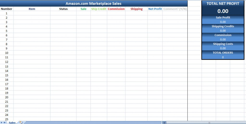 Amazon Sales Tracking Excel Template | Amazon Marketplace Sales