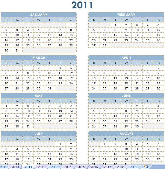 free annual calendars