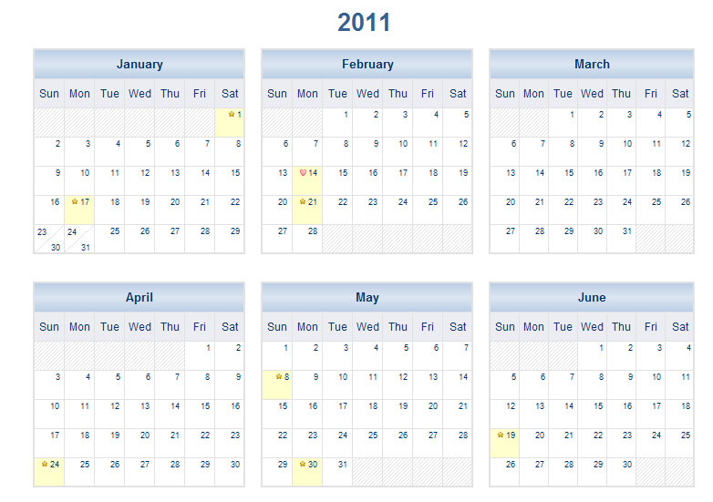 2011 Printable One Page Excel Calendar Template