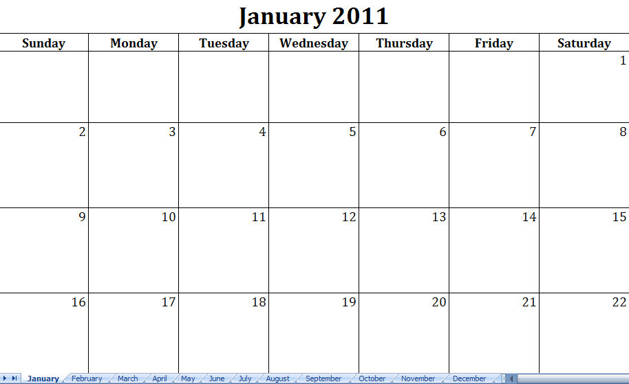 2011 Printable Monthly Calendar Excel Template