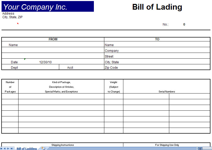 Great Bill Of Lading Template