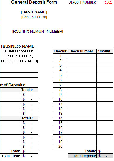 Deposit Form Template Archives - My Excel Templates