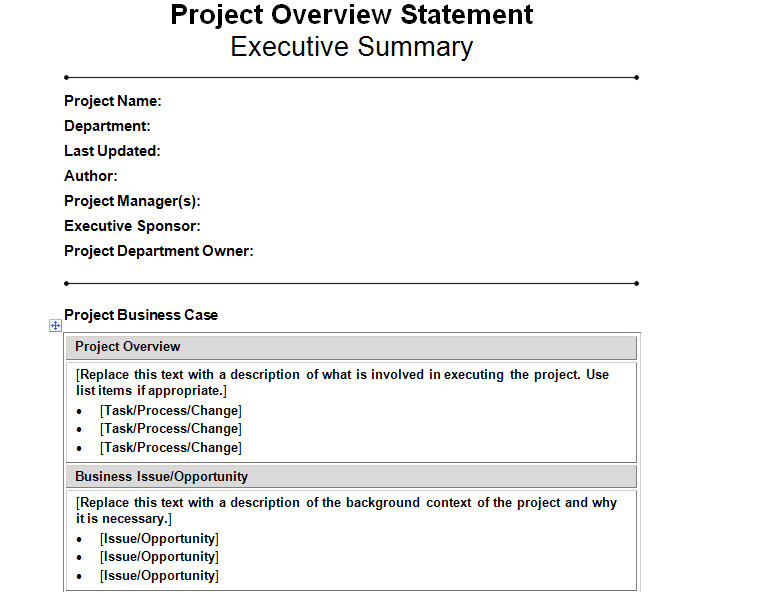 project management statement of work