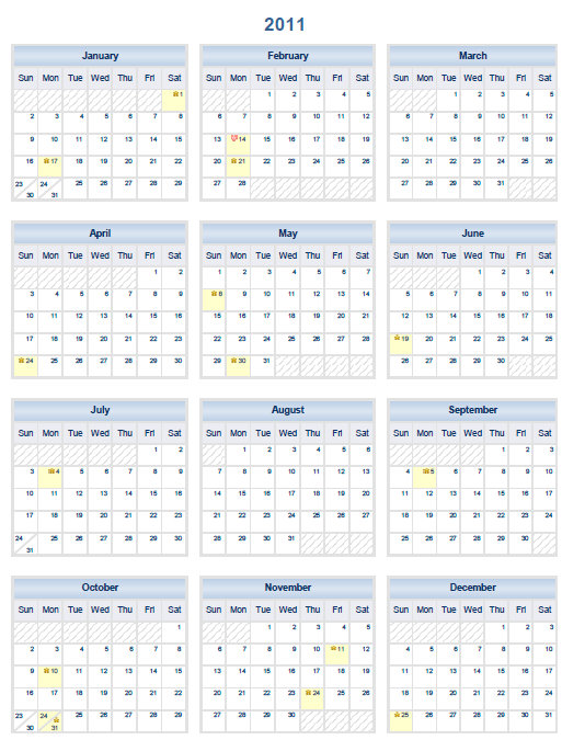 Year Calendar One Page Printable : Printable pdf one page calendar yearly