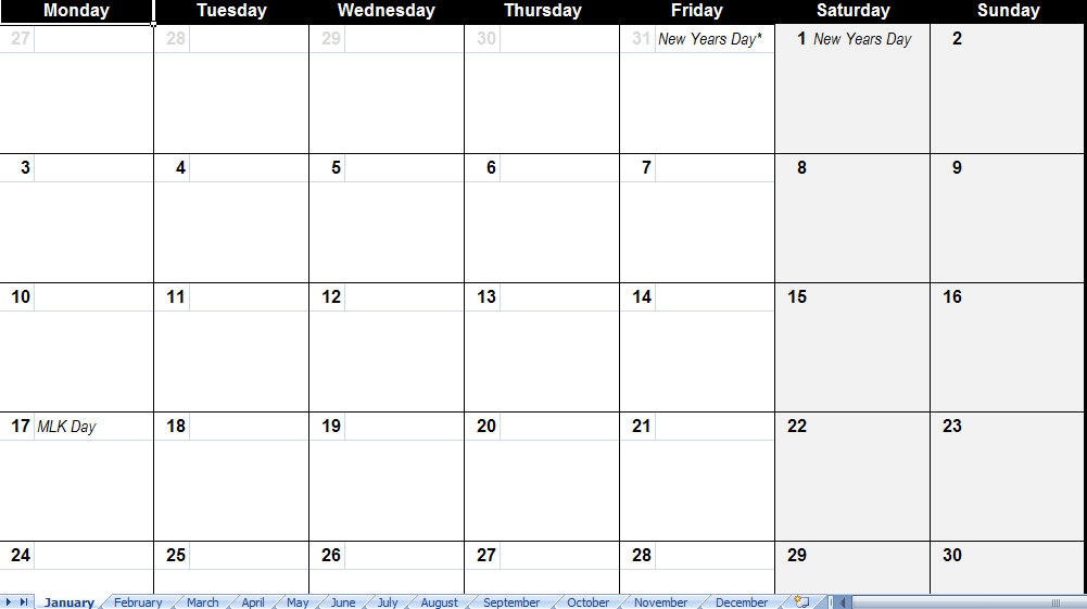 Calendar Templates With Holidays : Calendar template with holidays
