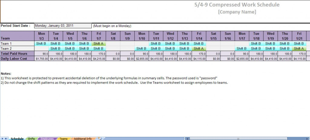 5 4 9 compressed work schedule