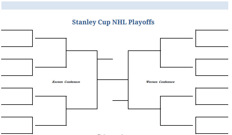 Printable Blank PDF  NHL Hockey Playoffs Stanley Cup Bracket