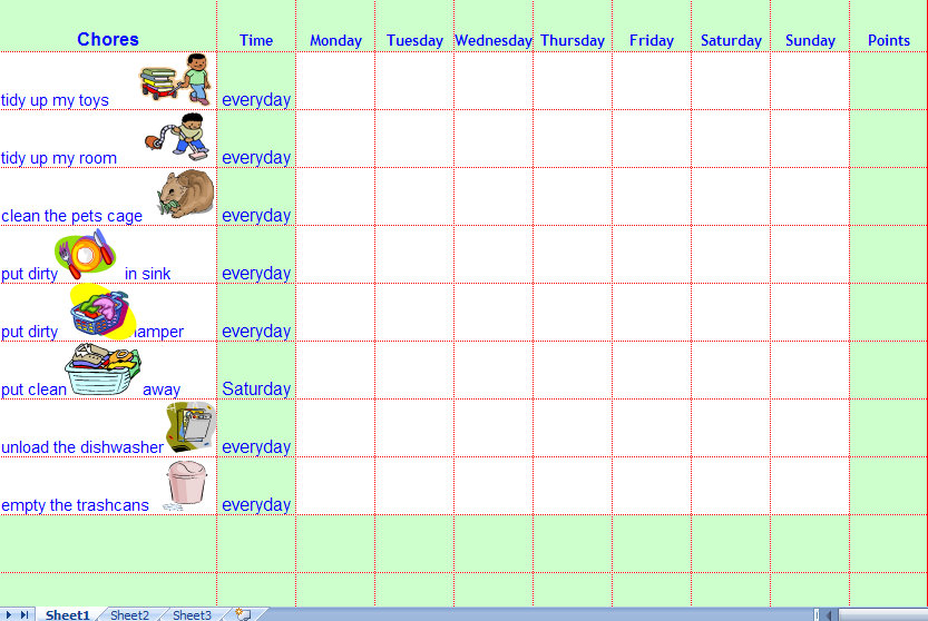 kids weekly chore chart templates
