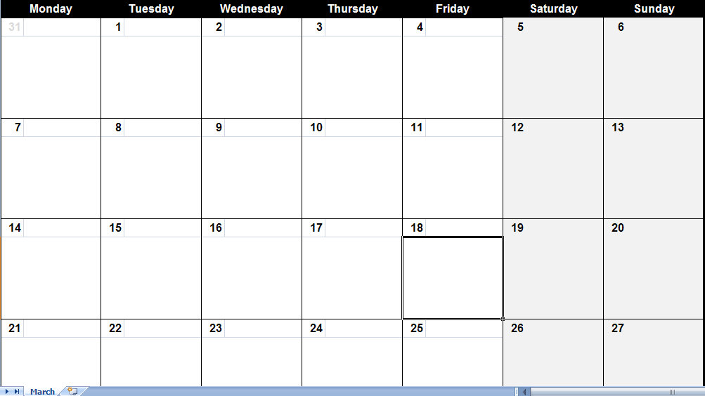 March 2011 Printable Monthly Calendar Template